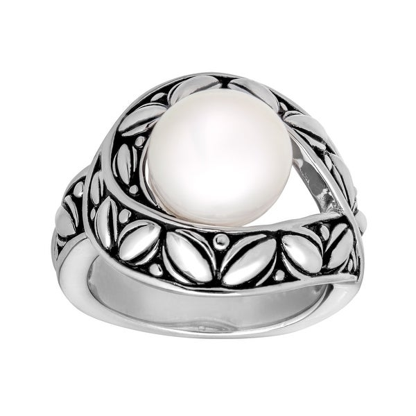 Honora 10-10.5 Pearl Leaf Motif Button Ring in Sterling Silver
