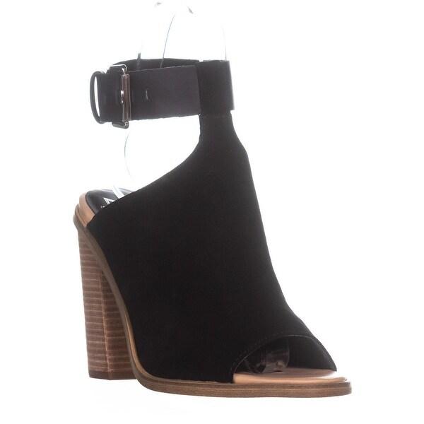 Marc Fisher Vashi Peep-Toe Sandals, Black Multi Suede - 10 us
