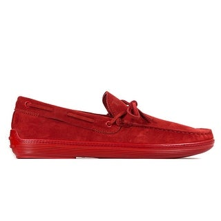 Tod's Men's Red Suede Red Sole Front Tie Moccasins