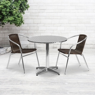 Link to 31.5'' Round Aluminum Indoor-Outdoor Table Set with 2 Rattan Chairs Similar Items in Patio Furniture