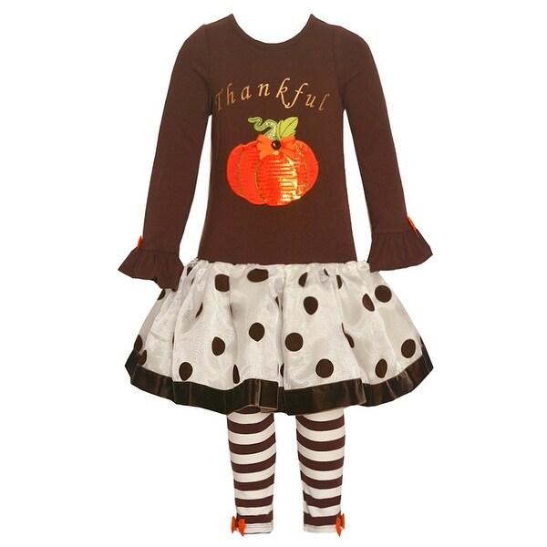 Rare Editions Baby Girls Brown Pumpkin Polka Dot 2 Pc Legging Set