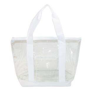 Liberty Bags Small Clear Tote Bag with Zippered Top - White - One size