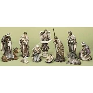 11-Piece Plum and Gray Blue Religious Christmas Nativity Figure Set