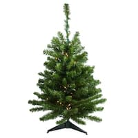 3' Pre-Lit Canadian Pine Artificial Christmas Tree - Clear Lights - green