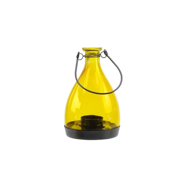 "6.25"" Transparent Yellow Glass Bottle Tea Light Candle Lantern Decoration"