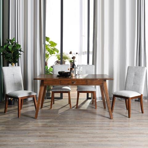 FurnitureR 5 Pieces Mid-Century Modern Wood Dining Set