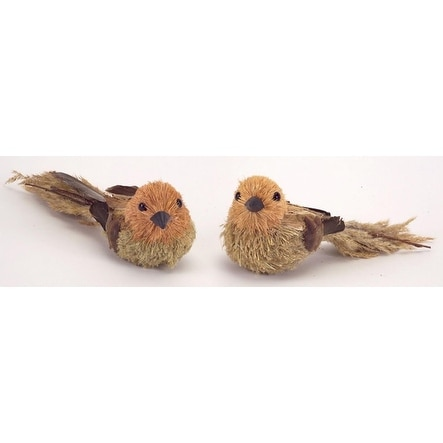 """Pack of 12 Country Rustic Beige and Mahogany Pine Cone and Sisal Birds 2.5"""""""