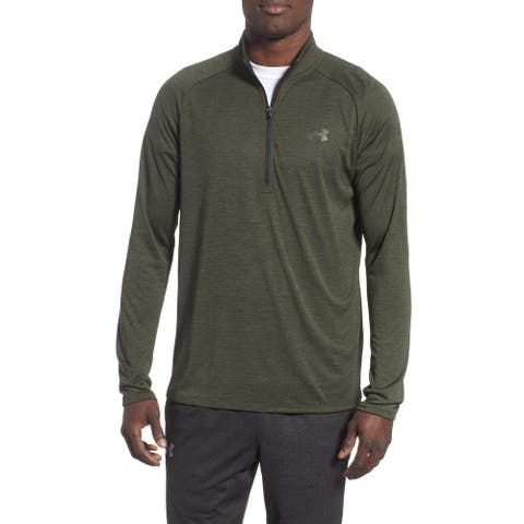 Under Armour Mens Activewear 1/4 Zip Pullover Green Medium M Space Dye