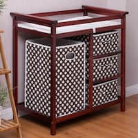 Costway Cherry Infant Baby Changing Table w/3 Basket Hamper Diaper Storage Nursery