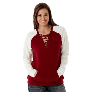 Cowgirl Tuff Western Sweatshirt Womens Burnout Lace Up Red