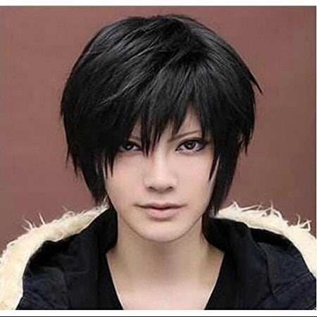 Black Short Wigs Straight Toupee Hair Wig for Women Men Halloween Cosplay Party Costume