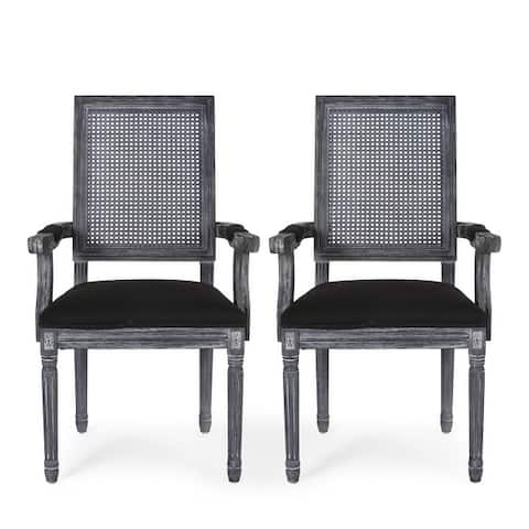 """Maria French Country Wood and Cane Upholstered Dining Chair by Christopher Knight Home - 23.75"""" L x 23.75"""" W x 39.75"""" H"""