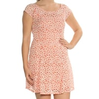 BEBOP Womens Coral Lace Printed Cap Sleeve Jewel Neck Above The Knee Fit + Flare Dress Juniors  Size: S