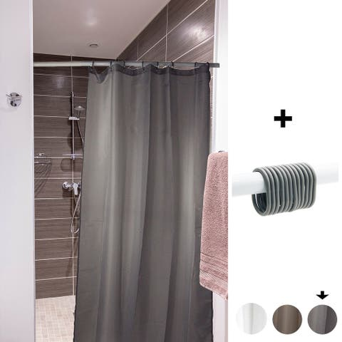 """Small Stall Shower Curtain Narrow Size 48""""W x 72""""H Inch-8 Matching Rings Grey"""