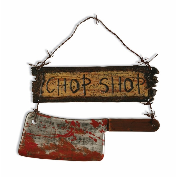 Scary Chop Shop Sign With Cleaver Halloween Prop