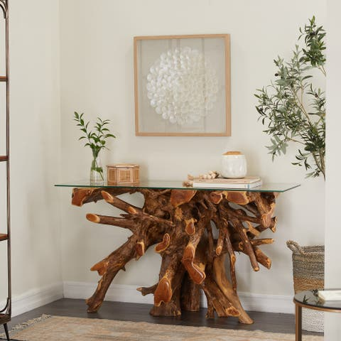 Brown Teak Contemporary Console Table 30 x 54 x 16