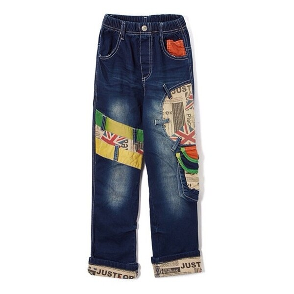 Rock'nStyle Baby Boys Blue British Flag Patch Pockets Denim Pants