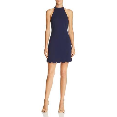 Aqua Womens Scalloped Hem Shift Dress, blue, Large