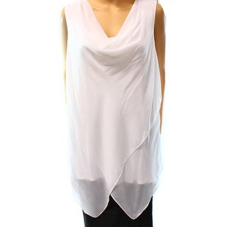 Alfani NEW White Women's Size Large L Chiffon Cowl Neck Tank Top