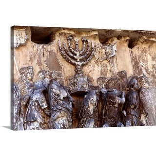 """Relief on wall of Forum depicting Roman troops taking menorah from temple"" Canvas Wall Art"