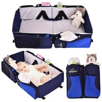 Costway 3 in 1 Portable Infant Baby Bassinet Diaper Bag Changing Station Nappy Travel - Blue