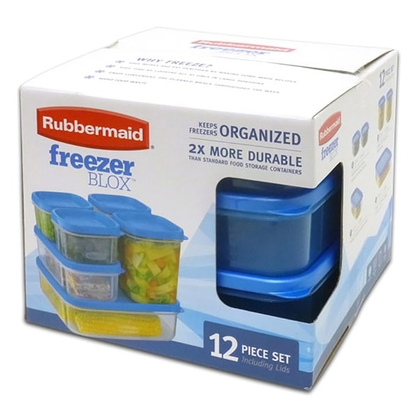 Rubbermaid Freezer Blox 12-Piece Food Storage Set, Clear-Blue