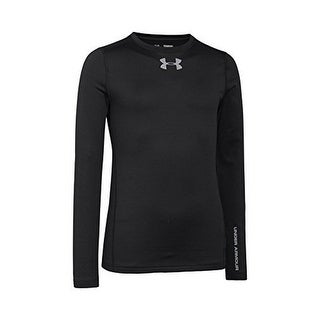Under Armour Youth Boys ColdGear Evo Fitted Long Sleeve Crew Shirt, Black/Steel, X-Large