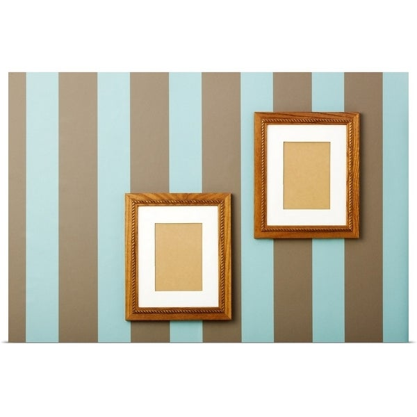 """""""Striped wallpaper with empty wood frames on walls"""" Poster Print"""