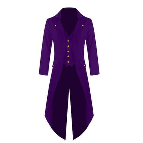 Men's Victorian Steampunk Vintage Asymmetrical Tux Tailcoat Tuxedo - Purple - 2XL