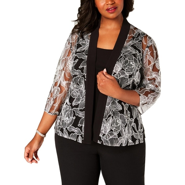 Alex Evenings Womens Plus Jacket Top Set 3/4 Sleeve Embroidered - Black/White