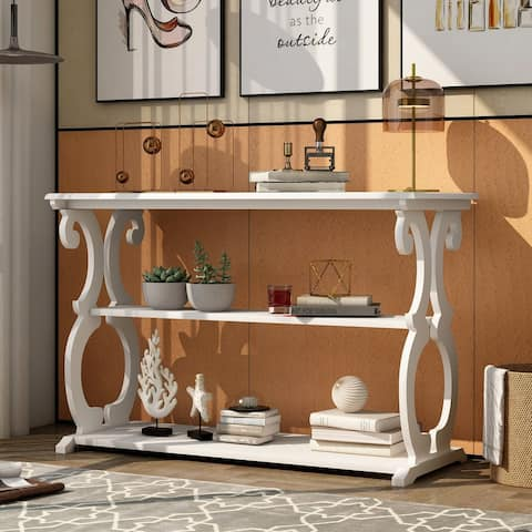 KINWELL Vintage Carved Design Console Table Sideboard for Entryway with 3-Tier Open Storage Shelf