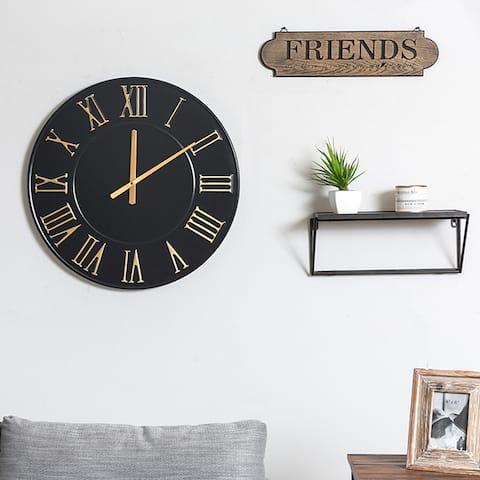 "24"" Round Black Oversized Centurian Roman Numeral Style Wall Clocks - 24.5*2*24.5"