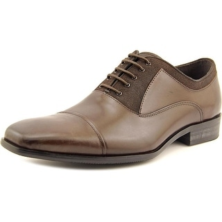 Kenneth Cole Reaction Break The News Men Round Toe Leather Brown Oxford