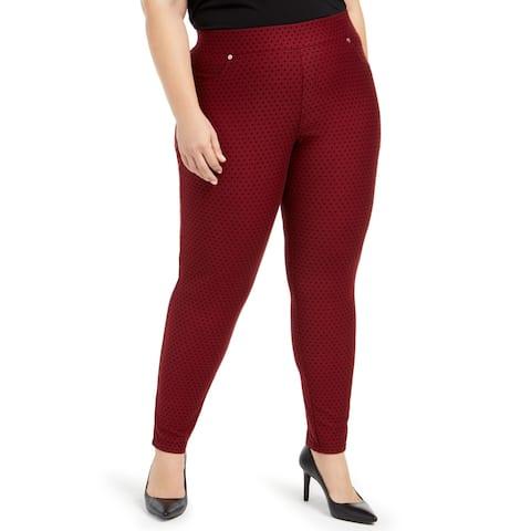 MICHAEL Michael Kors Womens Plus Leggings Mini Dot Ankle - Dark Burgandy/Black