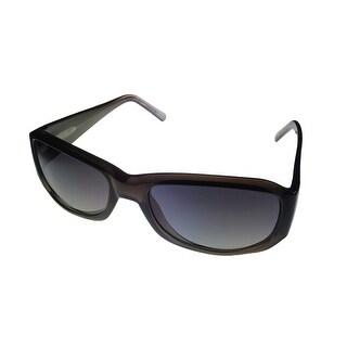 Levi Mens Sunglass LS129 2 Black Fade Plastic Rectangle Wrap, Smoke Gradient Lens - Medium