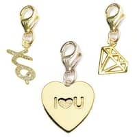 Julieta Jewelry I Heart U Heart, XO, Diamond 14k Gold Over Sterling Silver Clip-On Charm Set