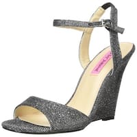 Betsey Johnson Womens duane Fabric Open Toe Special Occasion Ankle Strap Sand...
