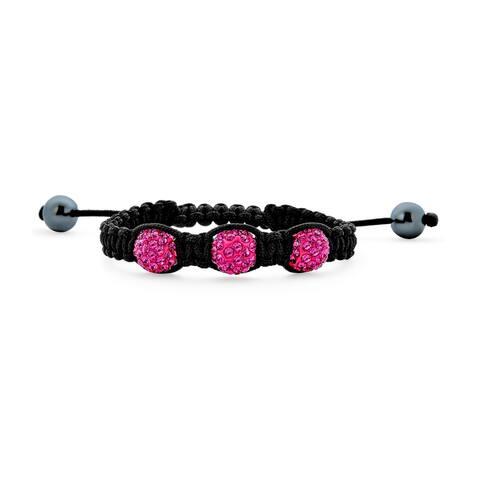 Fuchsia Pink Pave Crystal Ball Shamballa Inspired Bracelet Black Cord