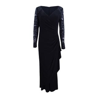 Alex Evenings Women's Petite Embellished Lace Gathered Faux-Wrap Gown - Black