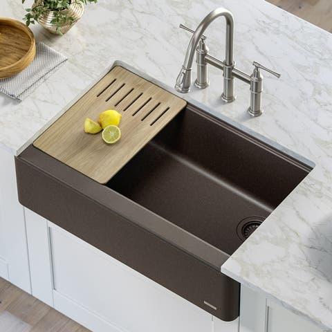 "KRAUS Bellucci Workstation 33"" Quartz Composite Farmhouse Kitchen Sink"