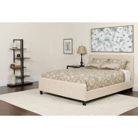 Button Tufted Upholstered Platform Bed