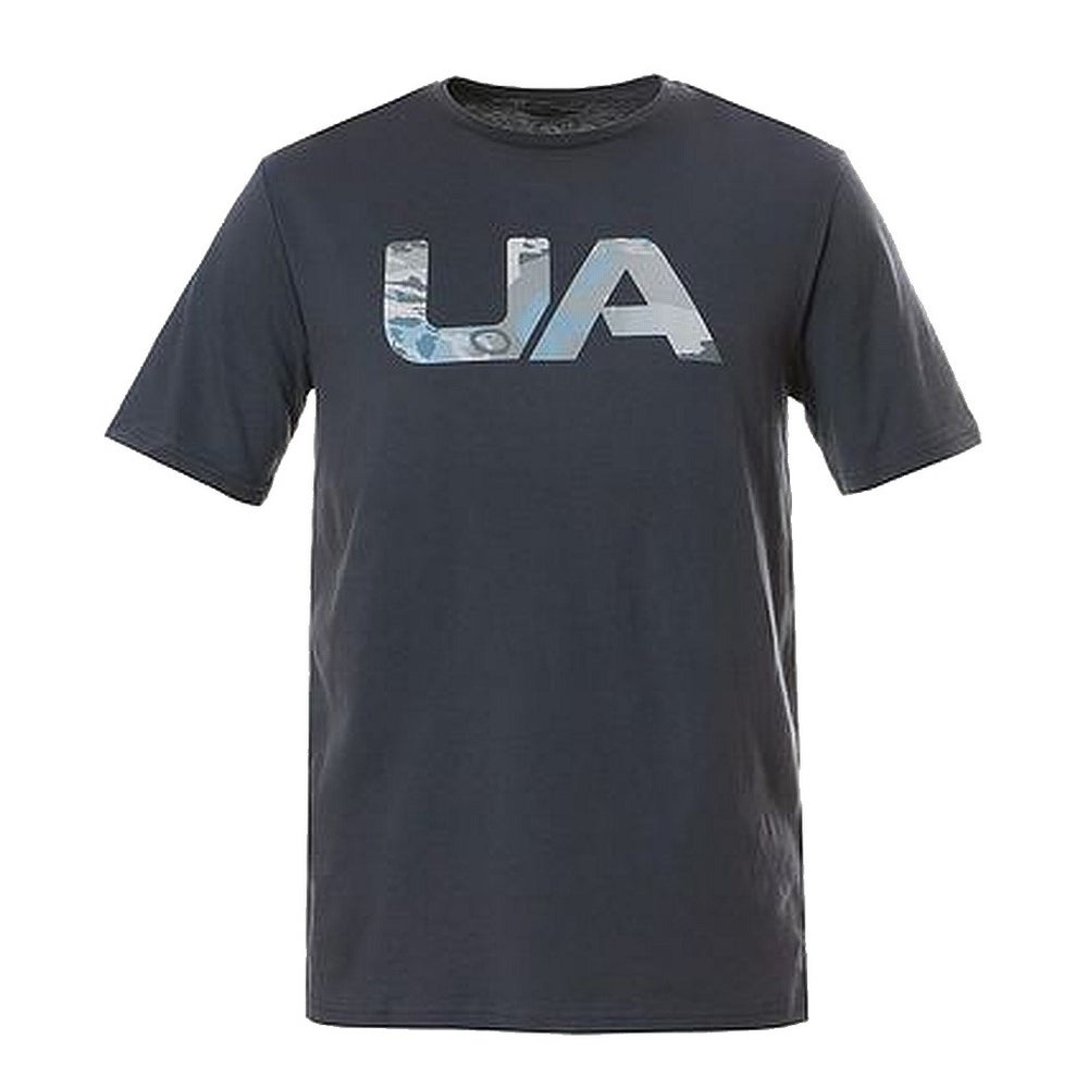 UNDER ARMOUR Mens Athletic T-Shirt ROYAL BLUE GRAPHIC Semi Fitted Heat Gear $40