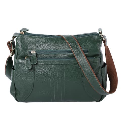 PASSAGE Genuine Leather Middle Size Crossbody Bag with Multi Pockets - 12.2x5.12x9.45 inches