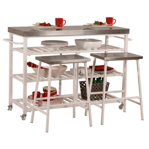 Hillsdale Furniture 4701-8S3 Kennon 3 Piece Metal Framed Stainless Steel Top Island Cart Set with Casters