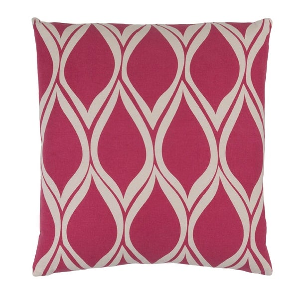 "22"" Falling Drops Raspberry Pink Background with Cloud Gray Design Throw Pillow-Down Filler"