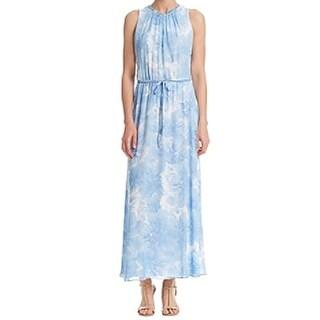 Calvin Klein NEW Blue Women's Size 4 Floral-Print Chiffon Maxi Dress