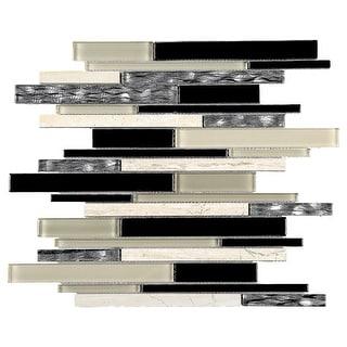 TileGen. Slender Random Sized Mixed Material Tile in Black/Brown Wall Tile (10 sheets/10.4sqft.)
