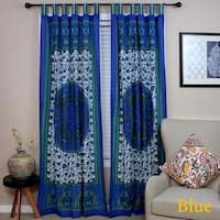 Handmade 100% Cotton Peacock Tab Top Curtain Door Panel Drape Red Blue Gorgeous - 44 x 88 inches
