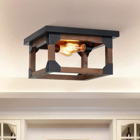 CO-Z 14-Inch Wood Rectangular 2 Light Flush Mount Light Fixture - Black & Oak