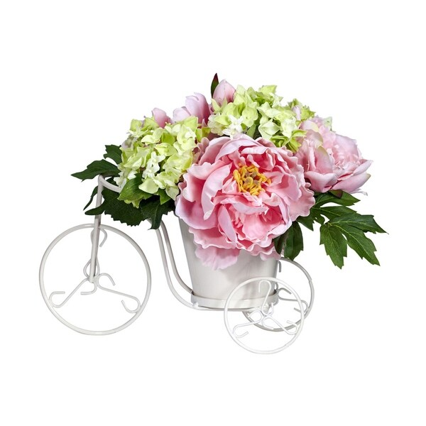 Nearly Natural Peony & Hydrangea Tricycle Silk Flower Arrangement - Yellow